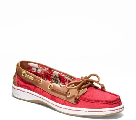 Coach Richelle Boat Shoe in Red (hibiscus/ginger