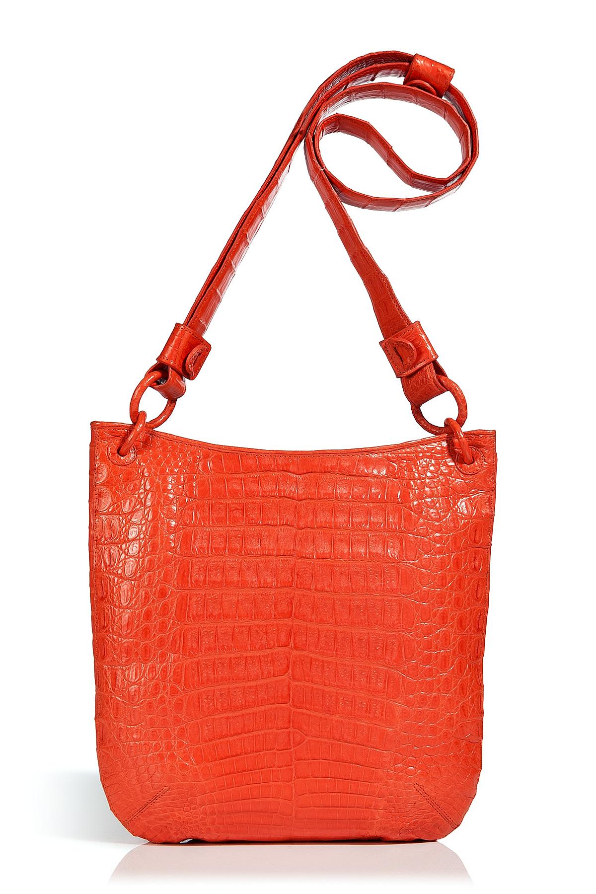 nancy gonzalez bright orange crocodile crossbody bag in