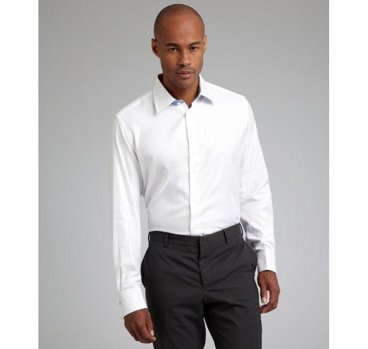 Robert graham white tonal herringbone cotton nathan french for White herringbone dress shirt