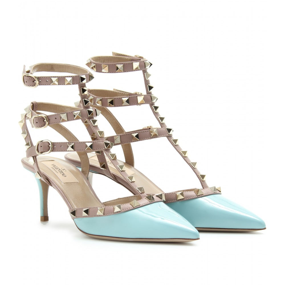 valentino rockstud kitten heel patent leather pumps in blue sky lyst. Black Bedroom Furniture Sets. Home Design Ideas