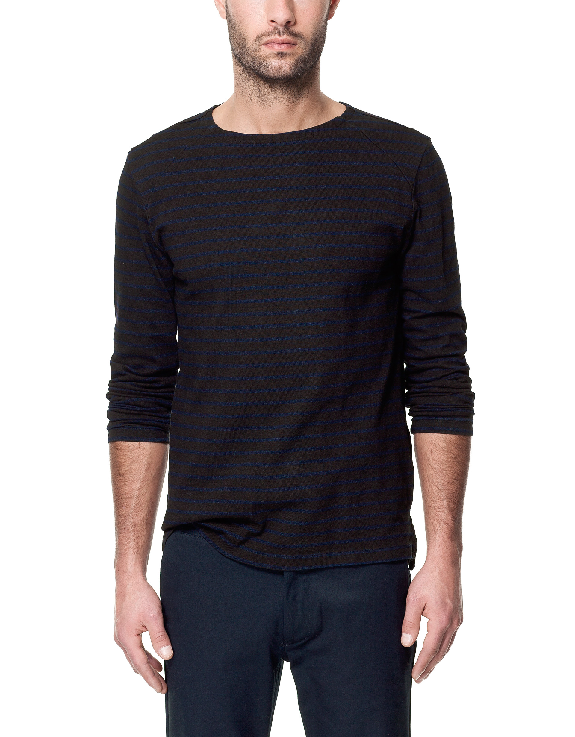 Zara long sleeves t shirt in black for men lyst for Long sleeve black tee shirts