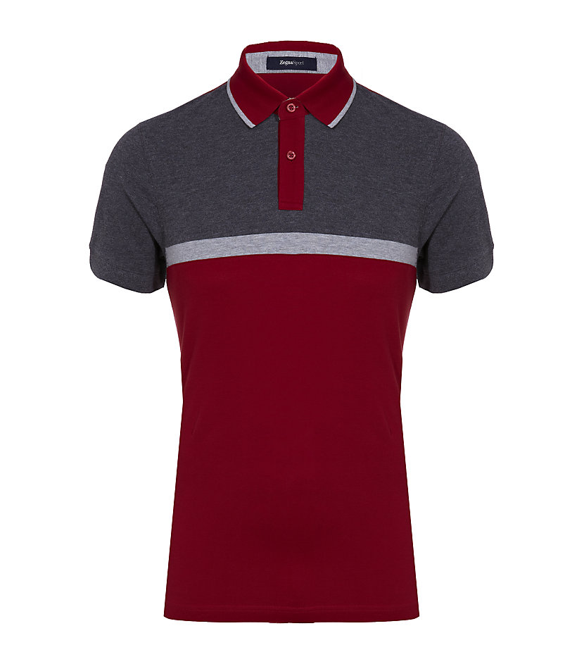 Zegna sport colour block polo shirt in red for men lyst for Zegna polo shirts sale