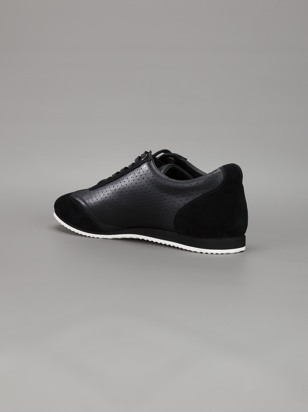 Dolce & Gabbana Perforated Leather Trainers in Black for Men