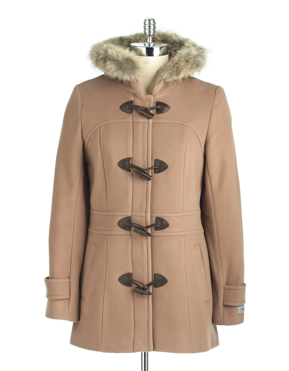 Marc New York Fur Trim Toggle Coat In Beige Camel Lyst