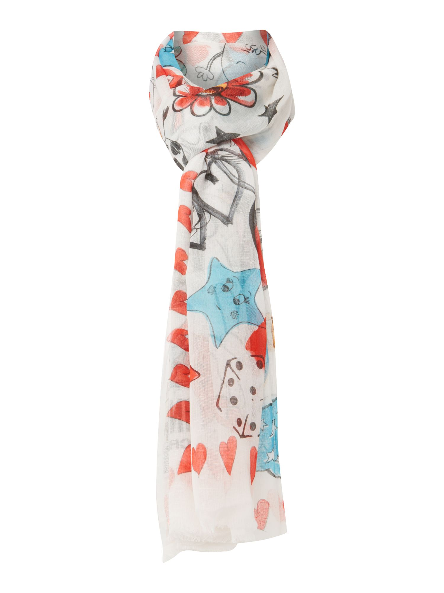 boutique moschino peace and oblong scarf in white lyst