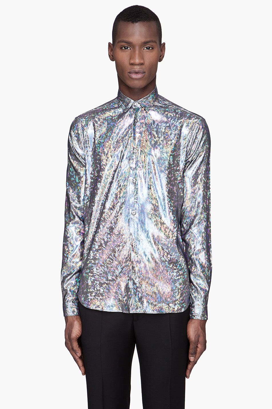 Mugler hologram button front shirt in metallic for men lyst for Men s classic dress shirts