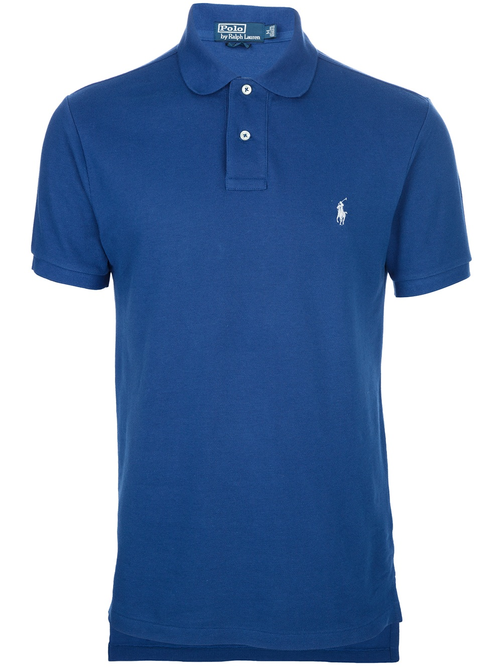 Polo ralph lauren logo polo shirt in blue for men lyst for Polo shirts with logos