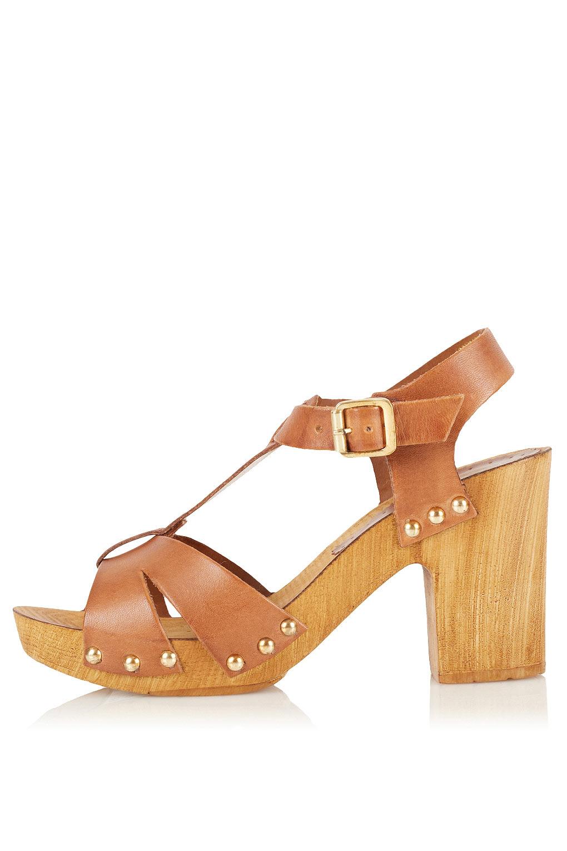 926a6d4b3e TOPSHOP Nano T-Bar Clog Sandals in Brown - Lyst