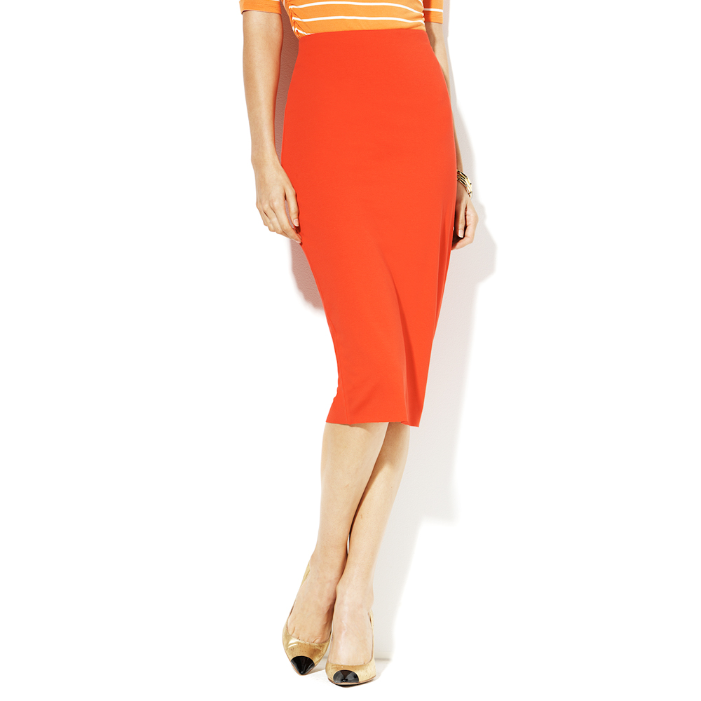 abccabff9e5db Lyst - Vince Camuto Midi Tube Skirt in Red