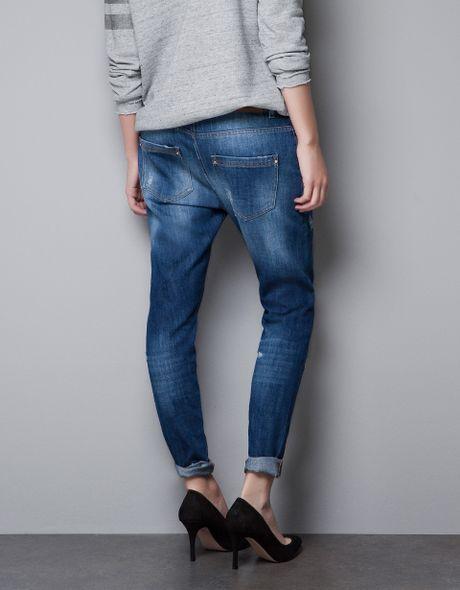 Innovative Zara Felt And Denim Baggy Trousers In Blue For Men Dark Blue  Lyst