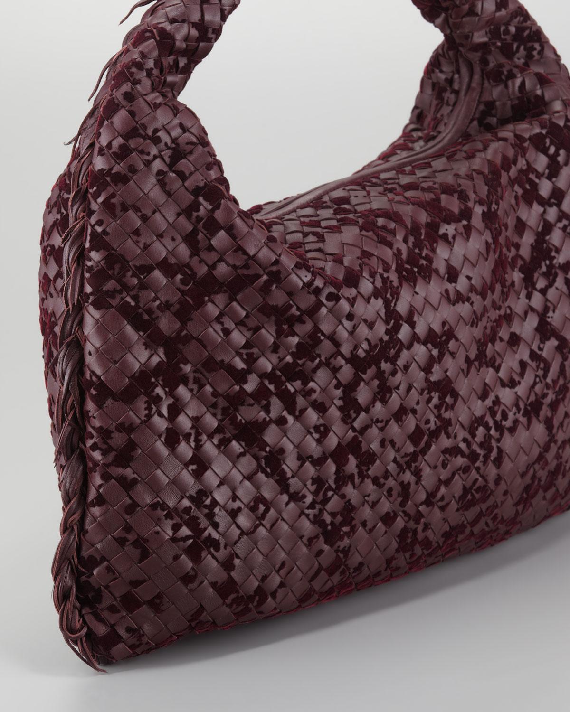 bde23191d0b3 Lyst - Bottega Veneta Velvet Large Hobo Bag in Purple