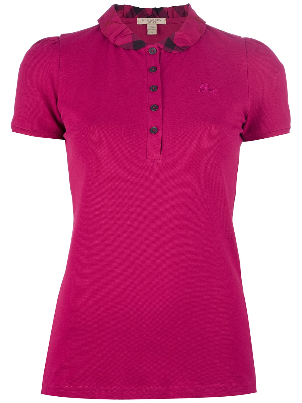 Burberry Brit Checked Collar Polo Shirt In Pink Lyst