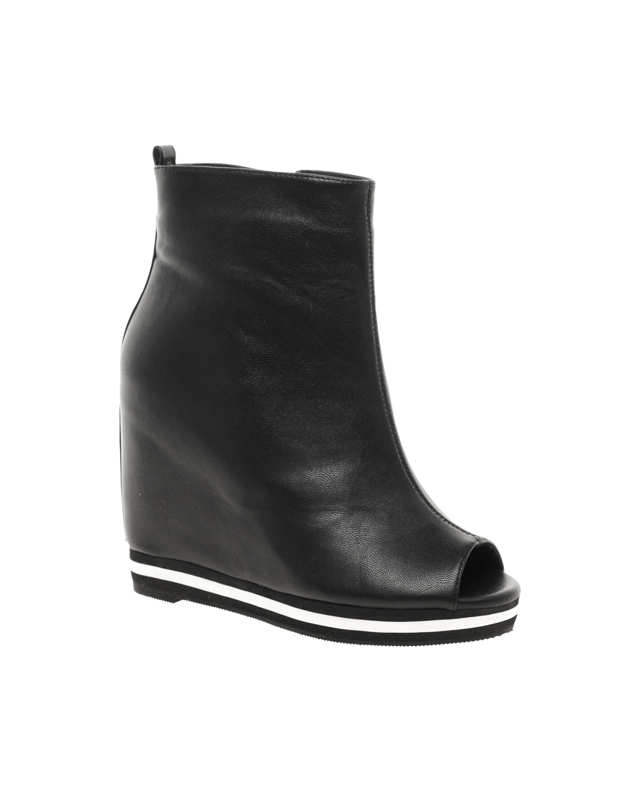 asos asos athlete wedge ankle boots in black lyst