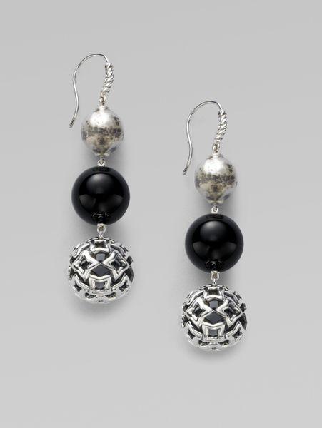 David Yurman Onyx Sterling Silver Triple Drop Earrings In