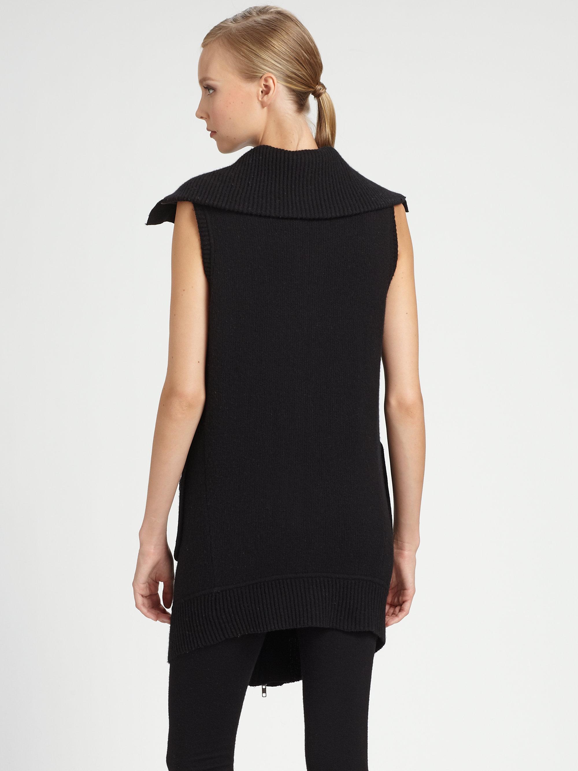 donna karan boiled cashmere vest in black lyst. Black Bedroom Furniture Sets. Home Design Ideas