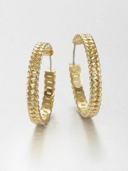 Marc By Marc Jacobs Curb Chain Hoop Earrings In Gold Lyst