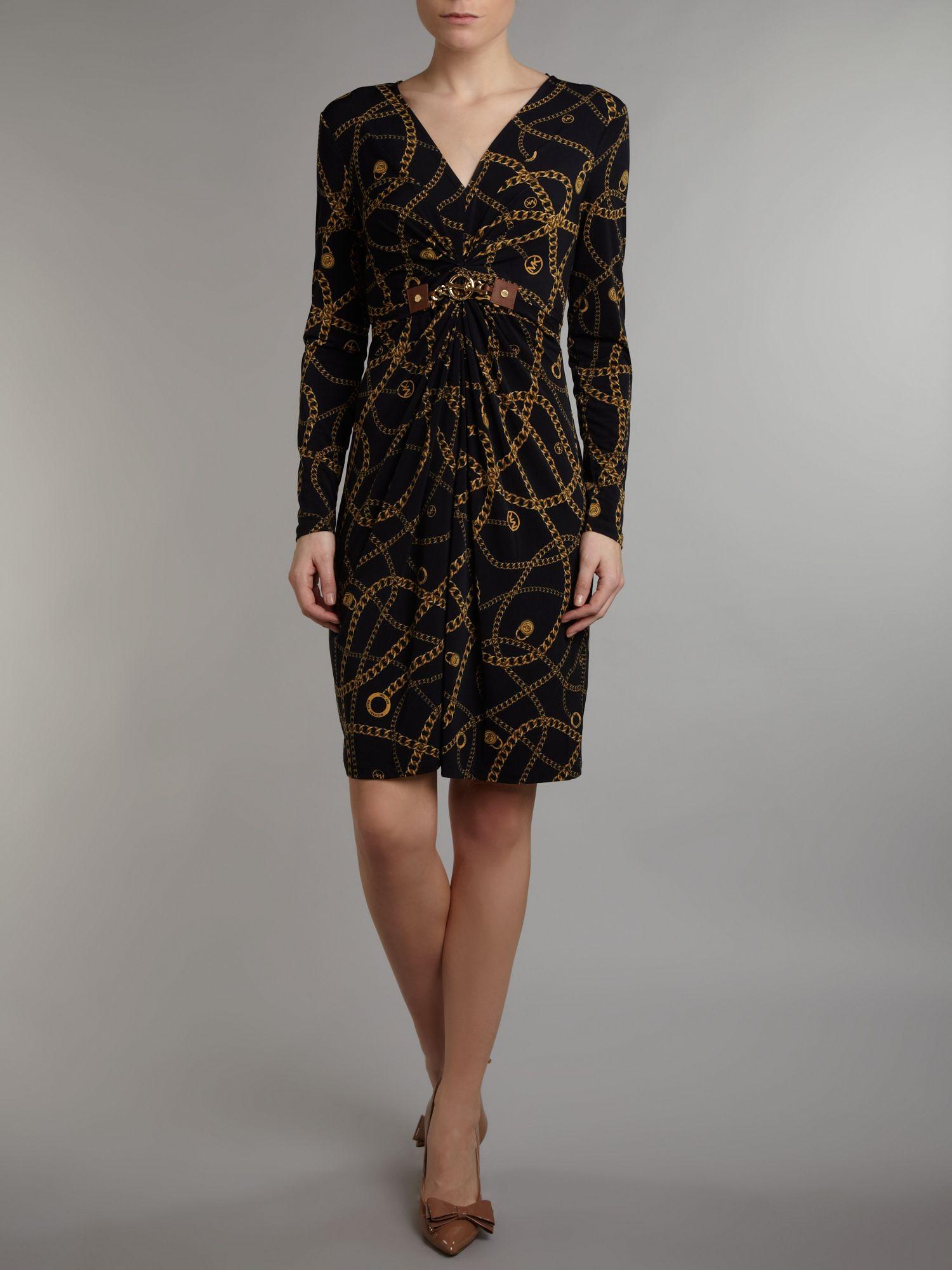 Michael Michael Kors Long Sleeved Chain Print Dress In