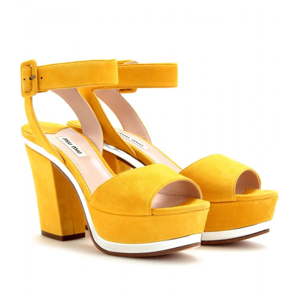 Miu Miu Suede Platform Sandals in