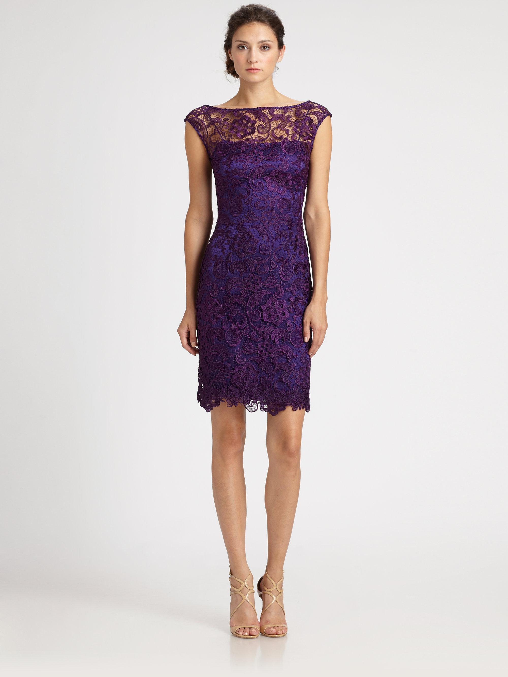 e2ad64d0b89 ML Monique Lhuillier Lace Dress in Purple - Lyst