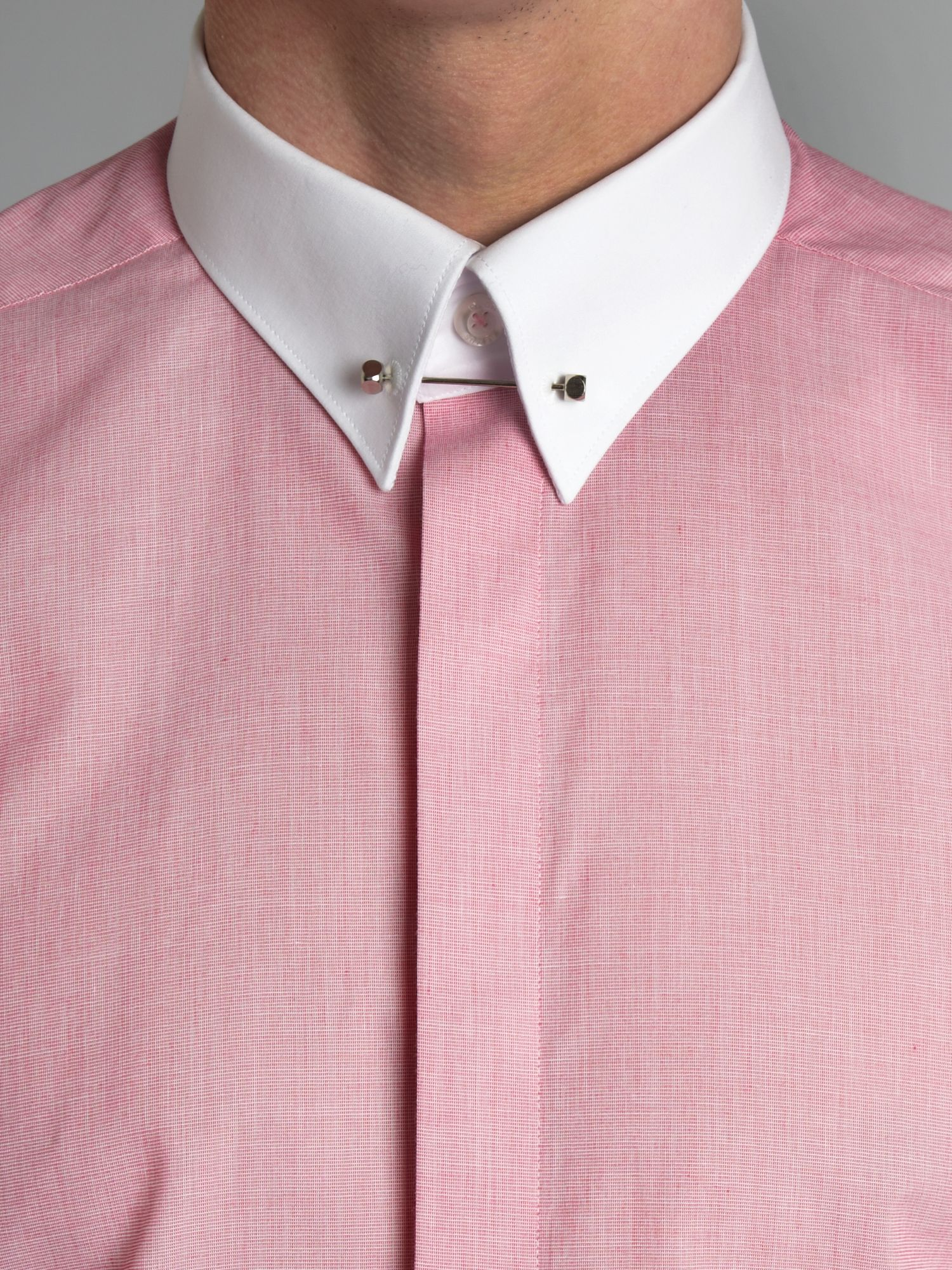Remus uomo rome contrast collar cuff shirt in white for for Mens dress shirts with contrasting collars and cuffs