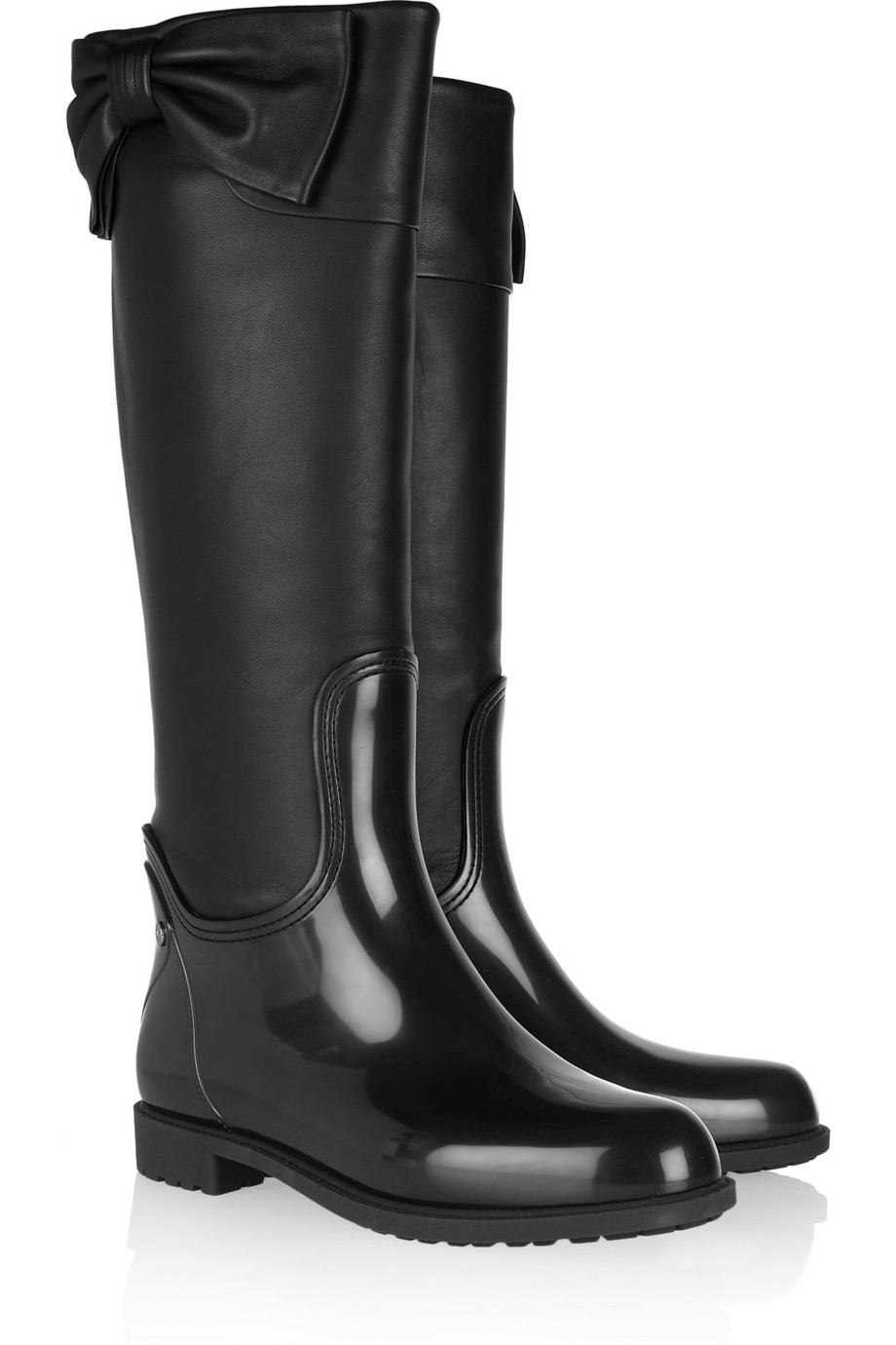 Valentino Leather And Rubber Wellington Boots In Black Lyst