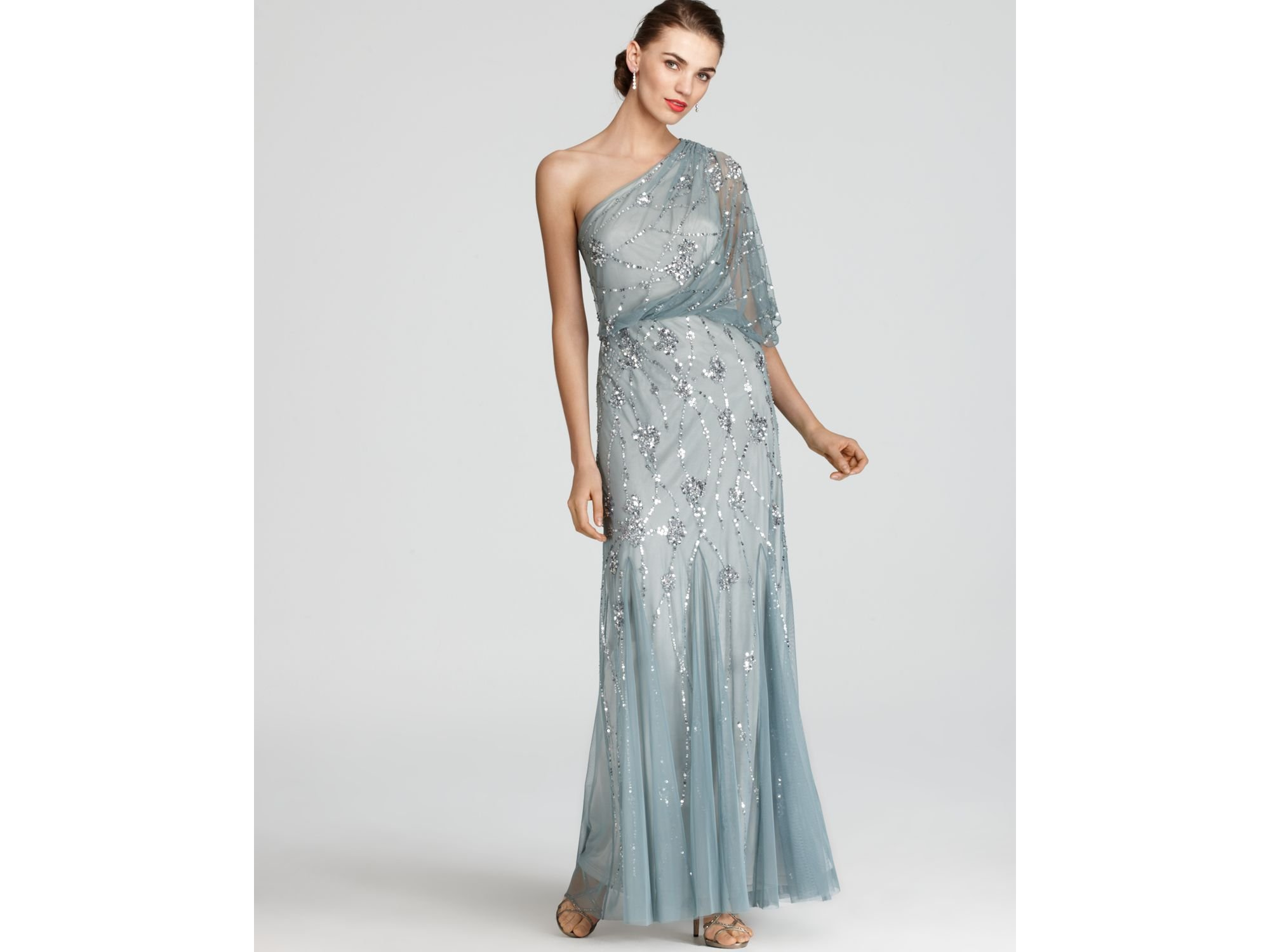 Adrianna papell Gown One Shoulder Sequin in Gray  Lyst