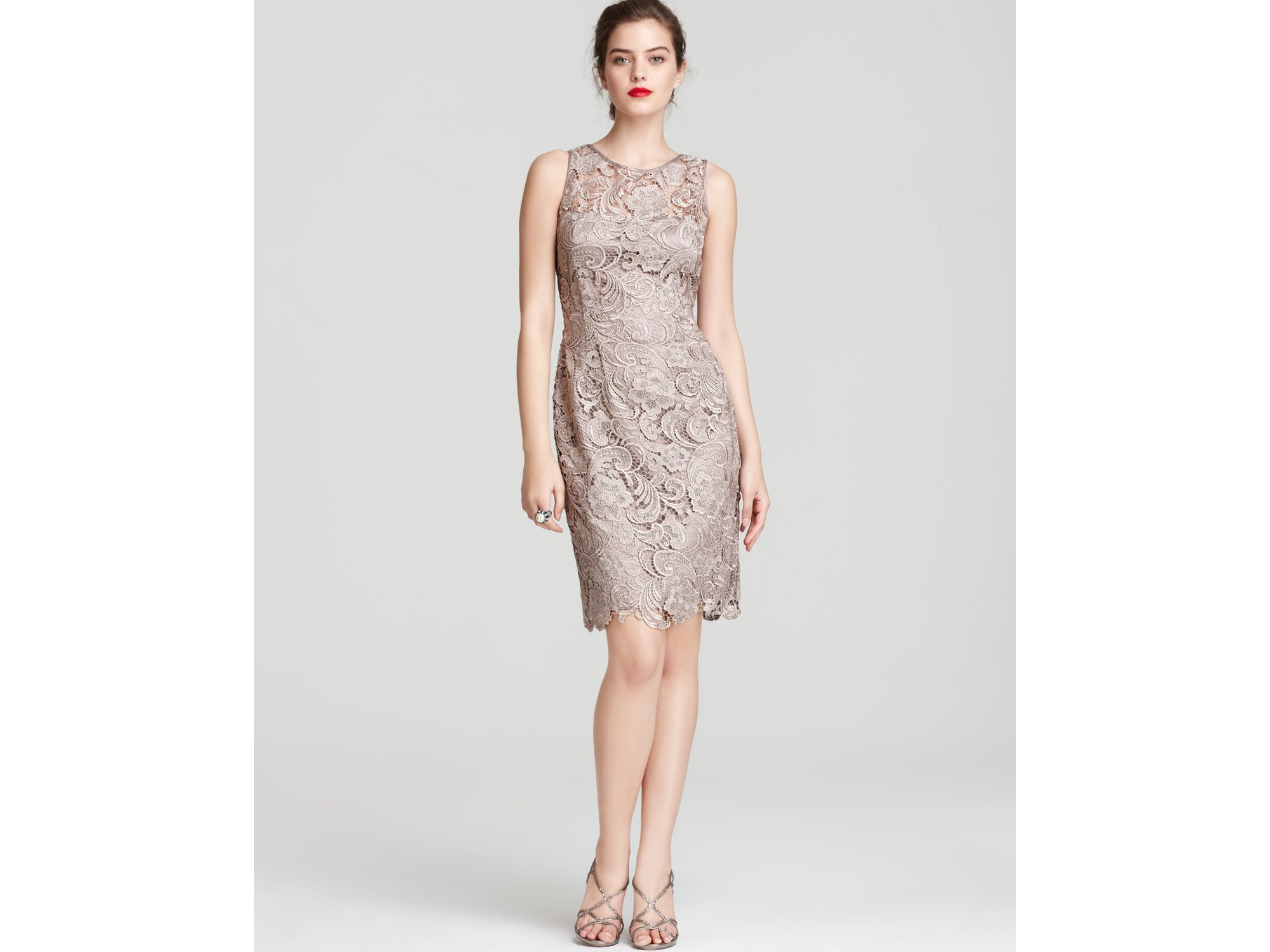 Lyst - Adrianna Papell Lace Dress Sleeveless in Natural
