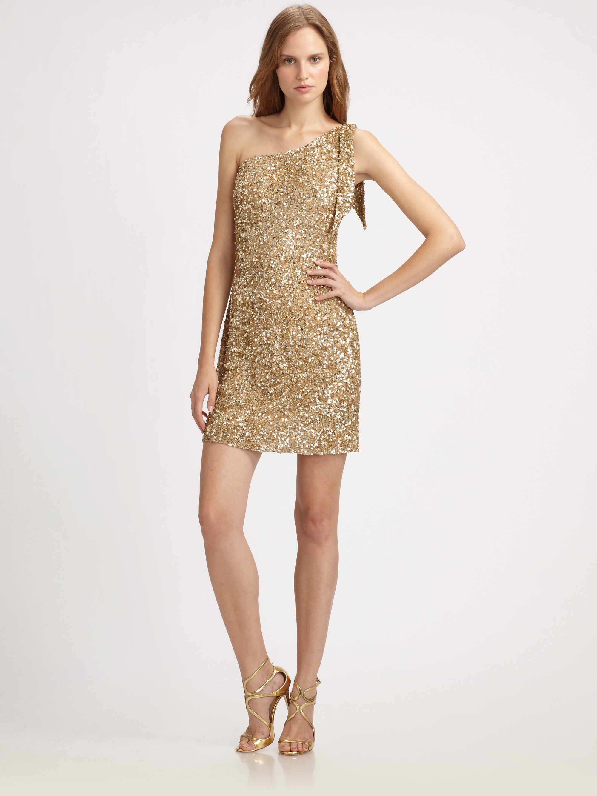 Aidan mattox One Shoulder Beaded Dress in Metallic | Lyst