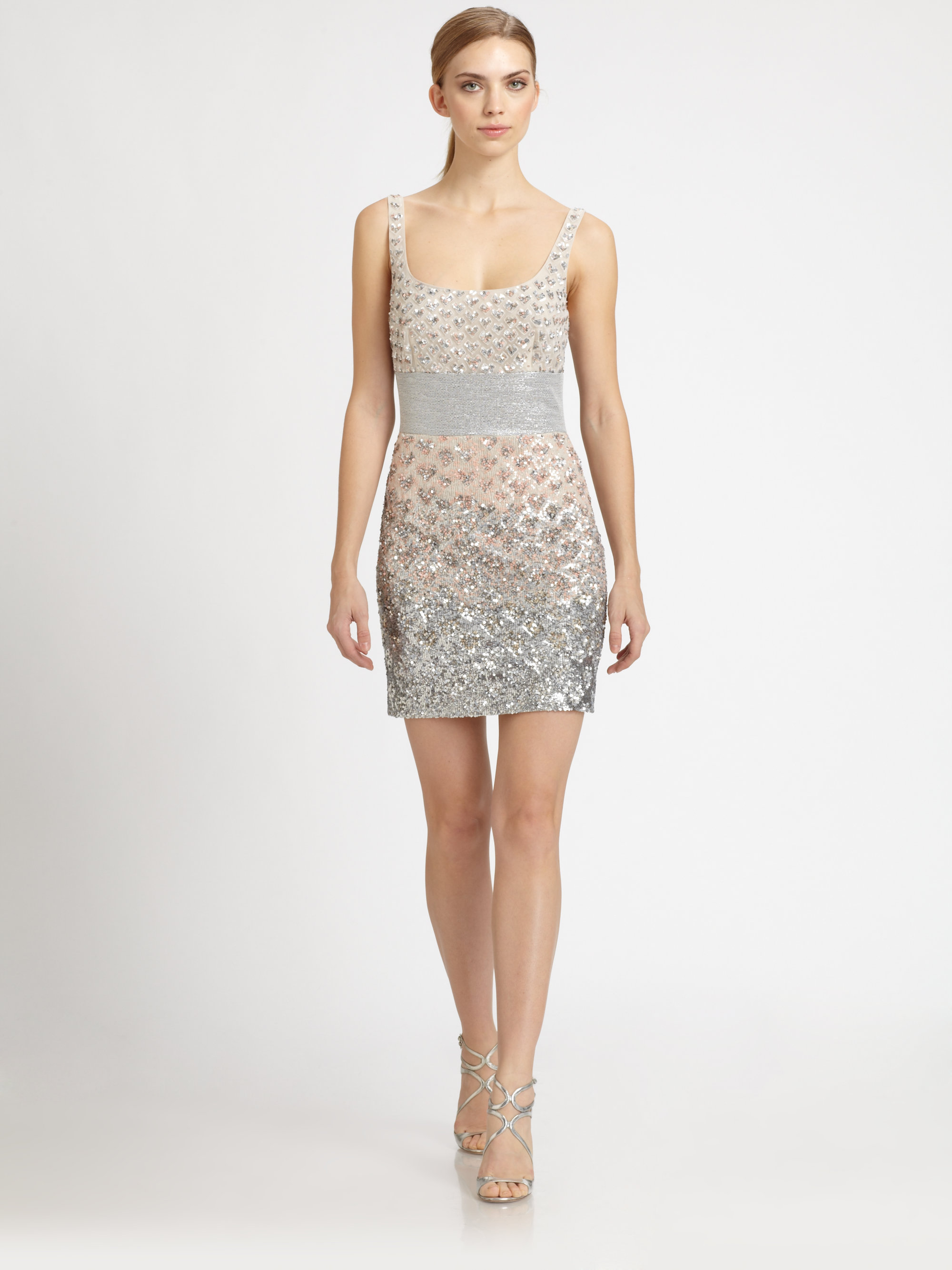 badgley mischka beaded dress in metallic lyst