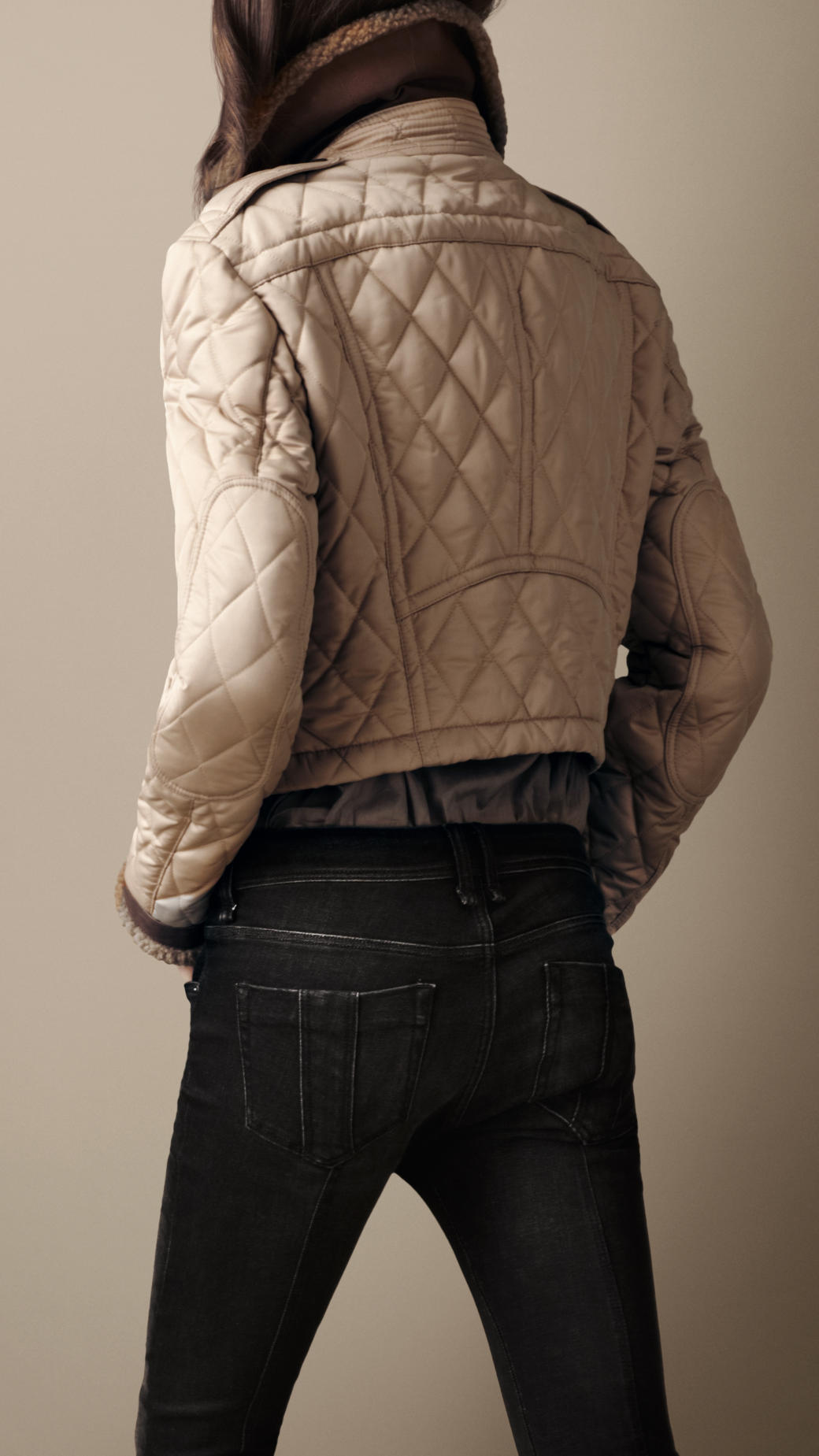 92bb8b700ae Lyst - Burberry Brit Shearling Quilted Bomber Jacket in Natural