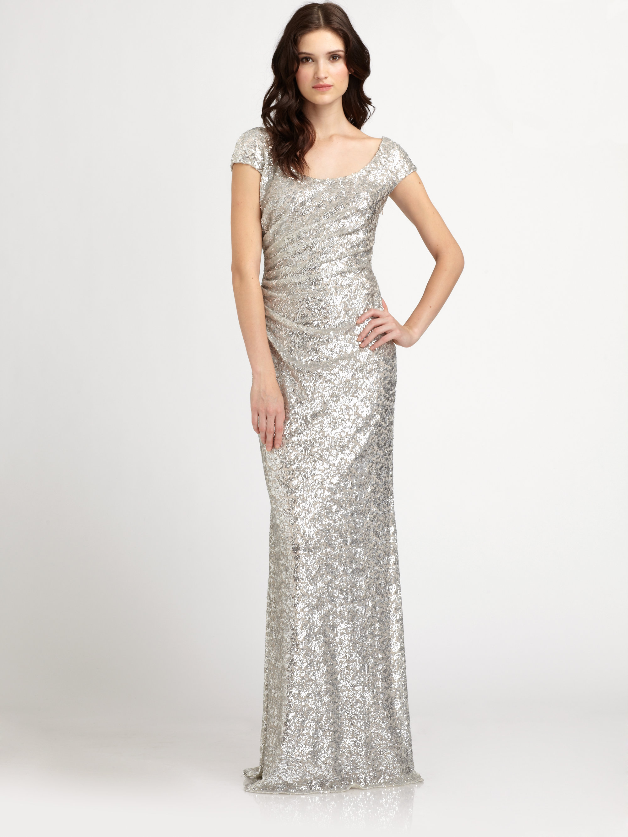 Lyst - David Meister Sequined Gown in Metallic