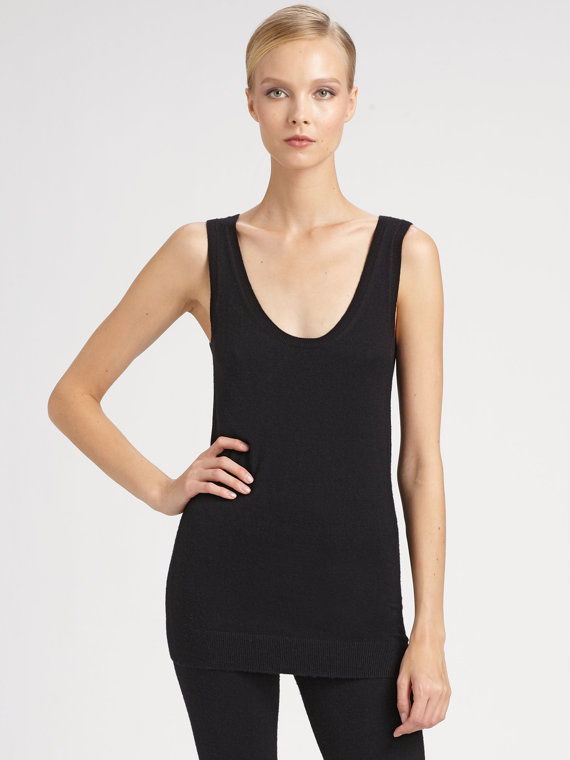 Donna karan new york first layer cashmere tank in black lyst for Donna karen new york