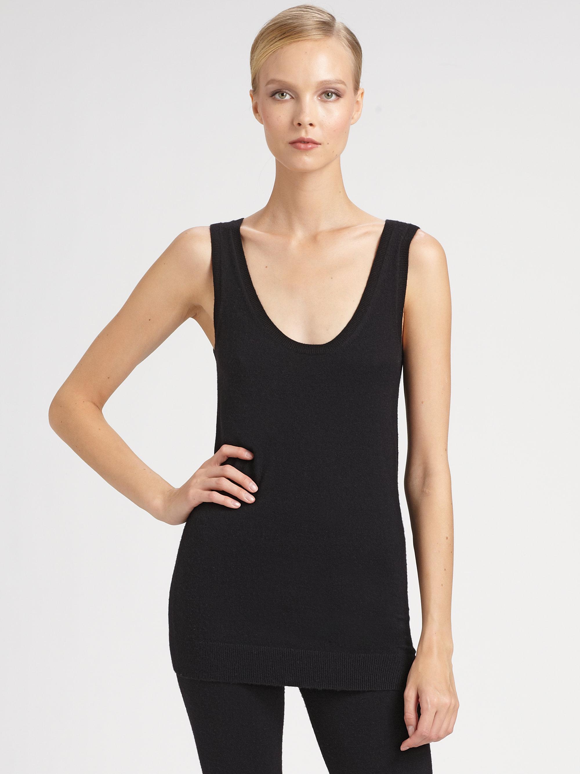 Donna karan new york first layer cashmere tank in black lyst for Donna karan new york