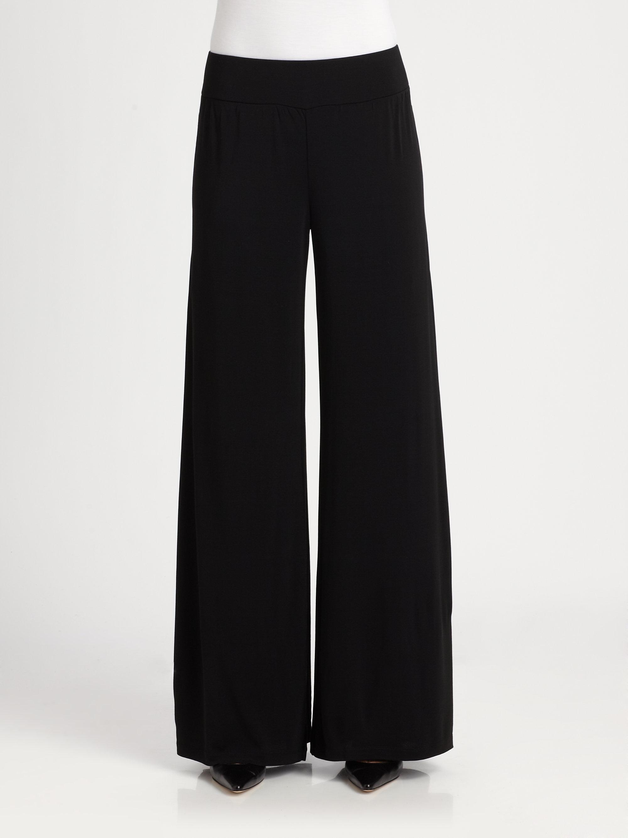 Lyst Eileen Fisher Silk Wide Leg Pants In Black