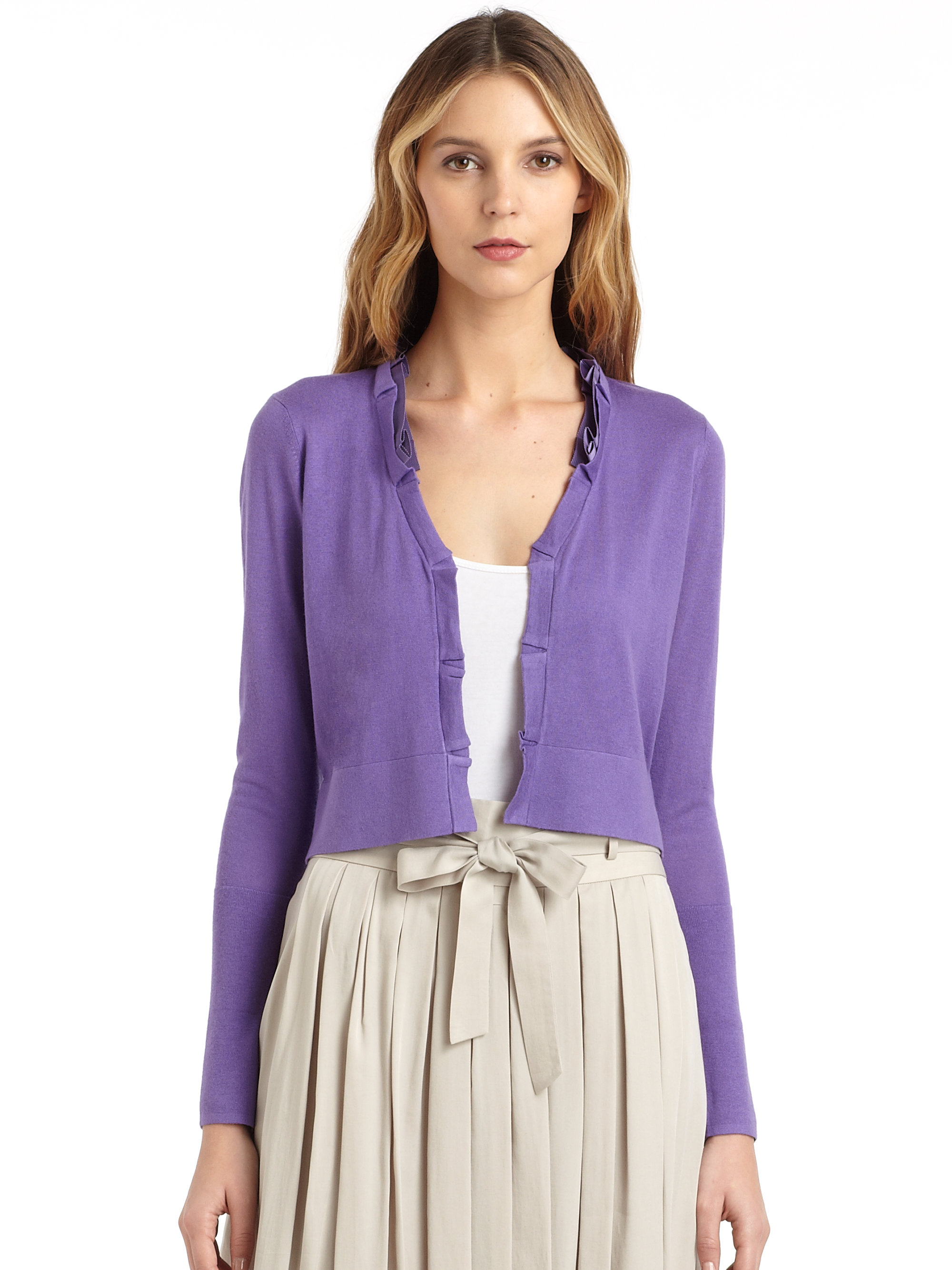 Wrap yourself in the cozy and comfy LUSH Sweetest Treat Lilac Cardigan Sweater! Soft and chunky knit shapes this must-have cardigan with an open-front design finished with patch pockets at the waist. Long balloon sleeves, with ribbed cuffs, frame the cozy look.5/5(3).