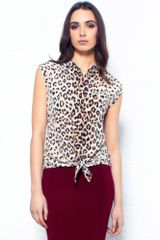 Equipment Diem Leopard Print Tie Front Silk Blouse