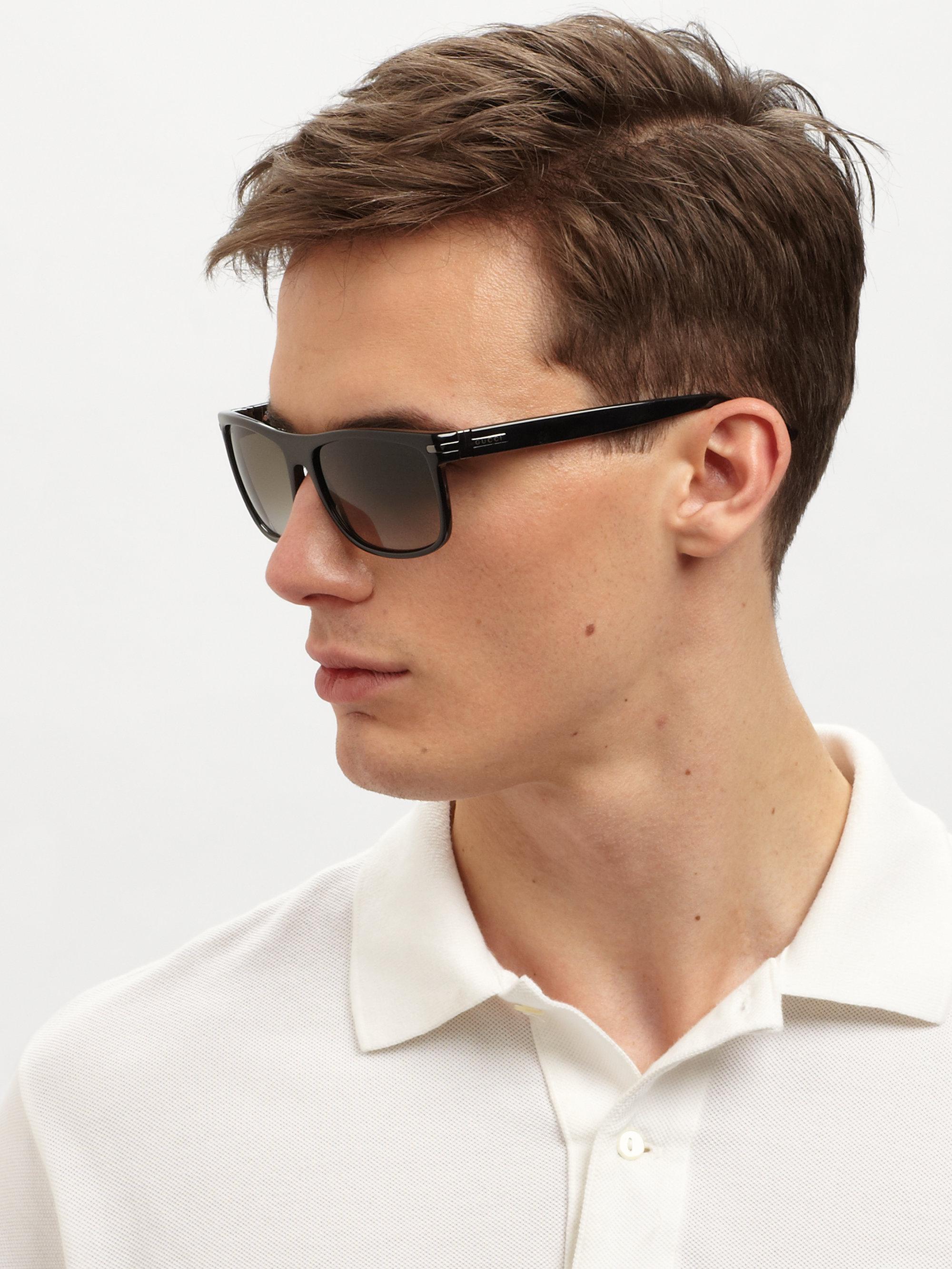 bdfbfea48c Lyst - Gucci Classic Acetate Sunglasses in Black for Men