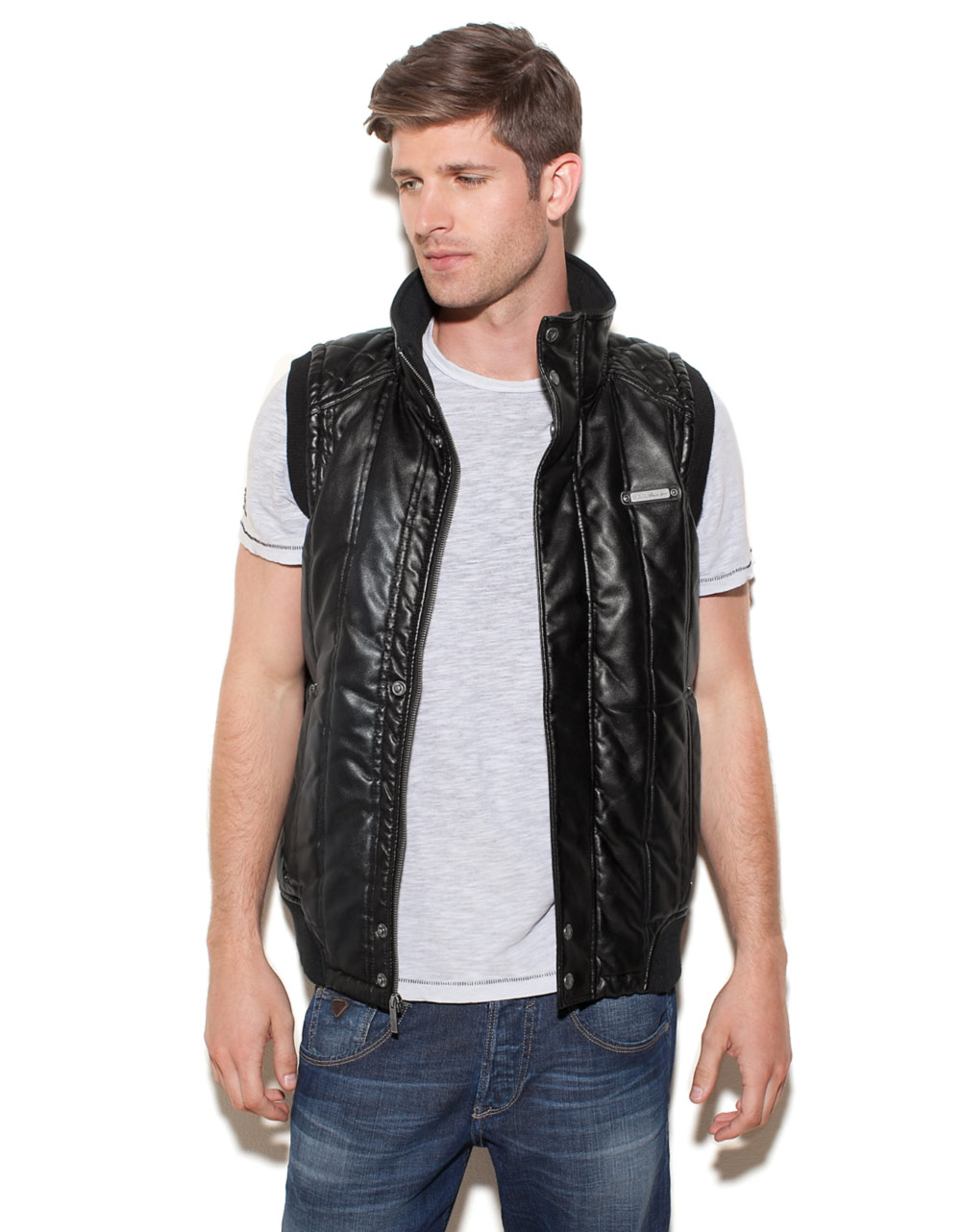 Guess Benson Vest In Black For Men Black Silver Lyst