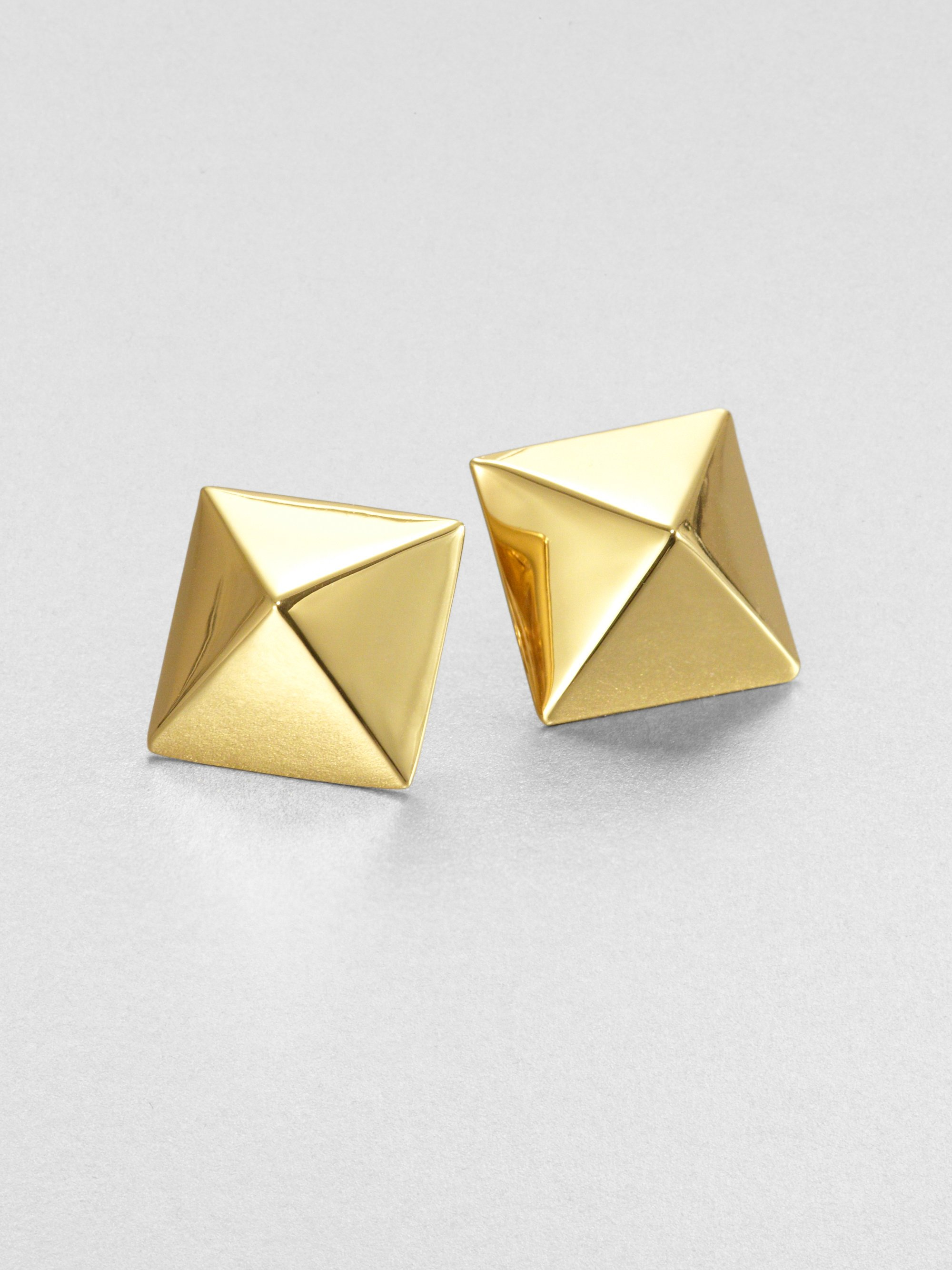 gold gallery pyramid diamond jewelry lyst stud sydney product earrings evan accented