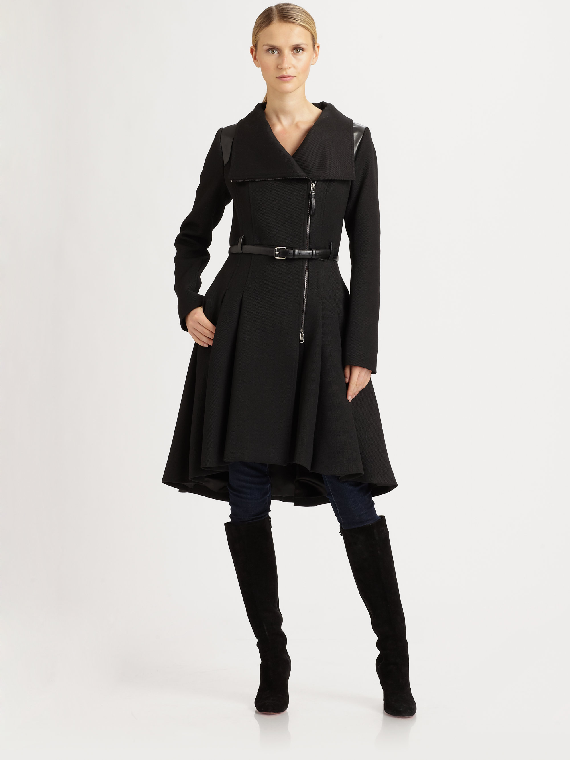 Mackage Belted Coat in Black | Lyst