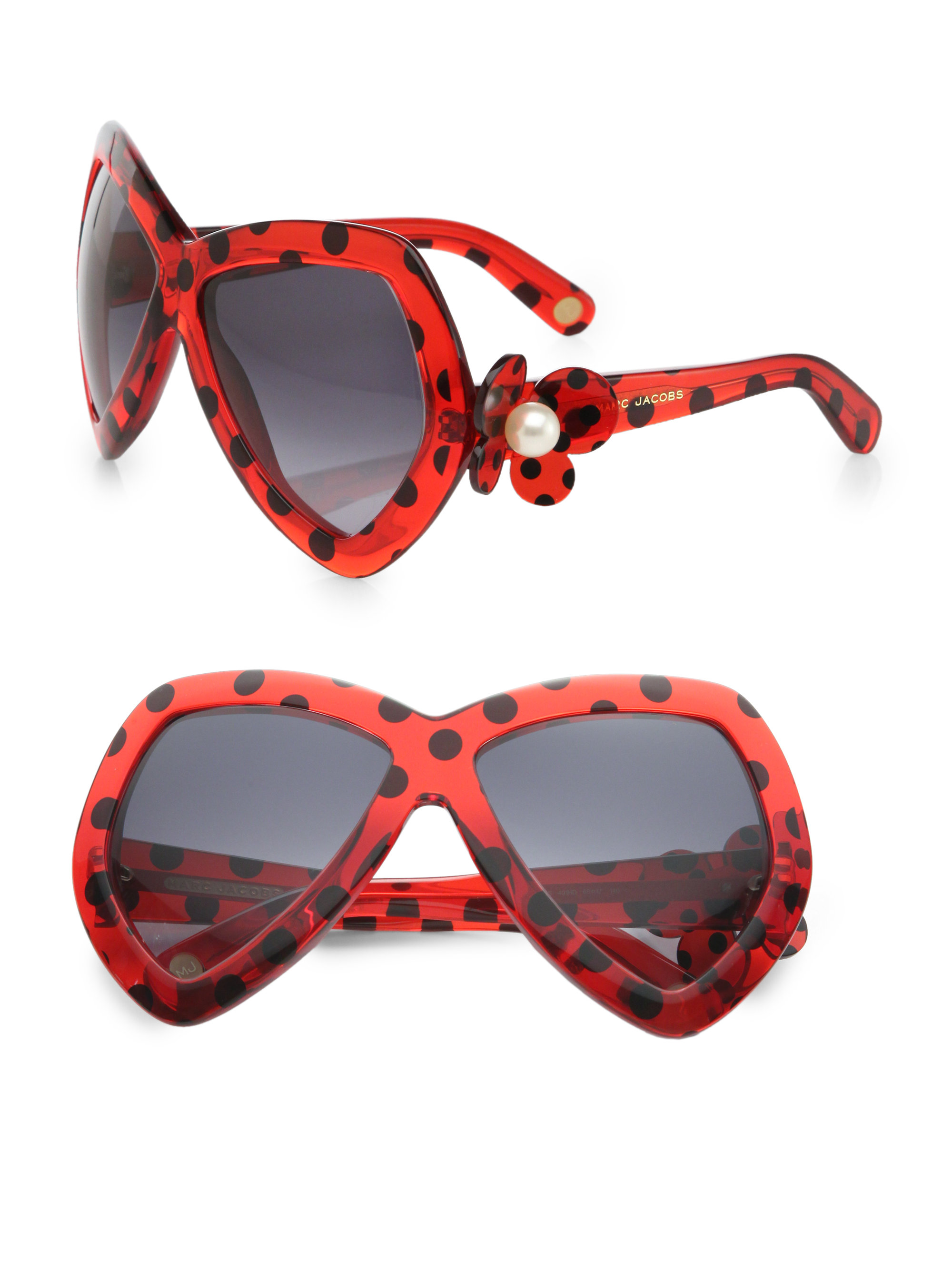 85257be928db Marc Jacobs Dotted Plastic Butterfly Sunglasses in Red - Lyst