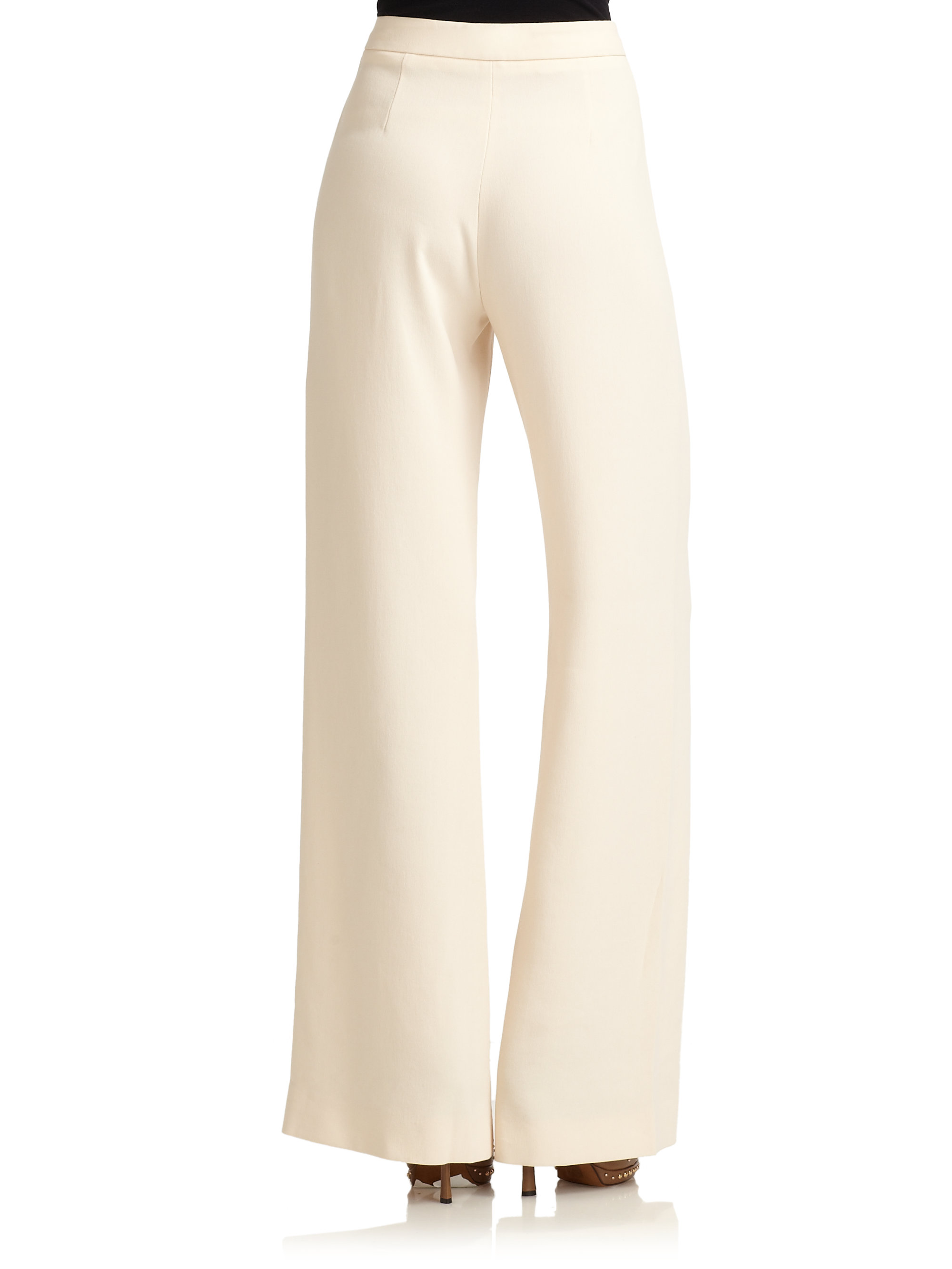 Moschino Wide Leg Pants in White | Lyst