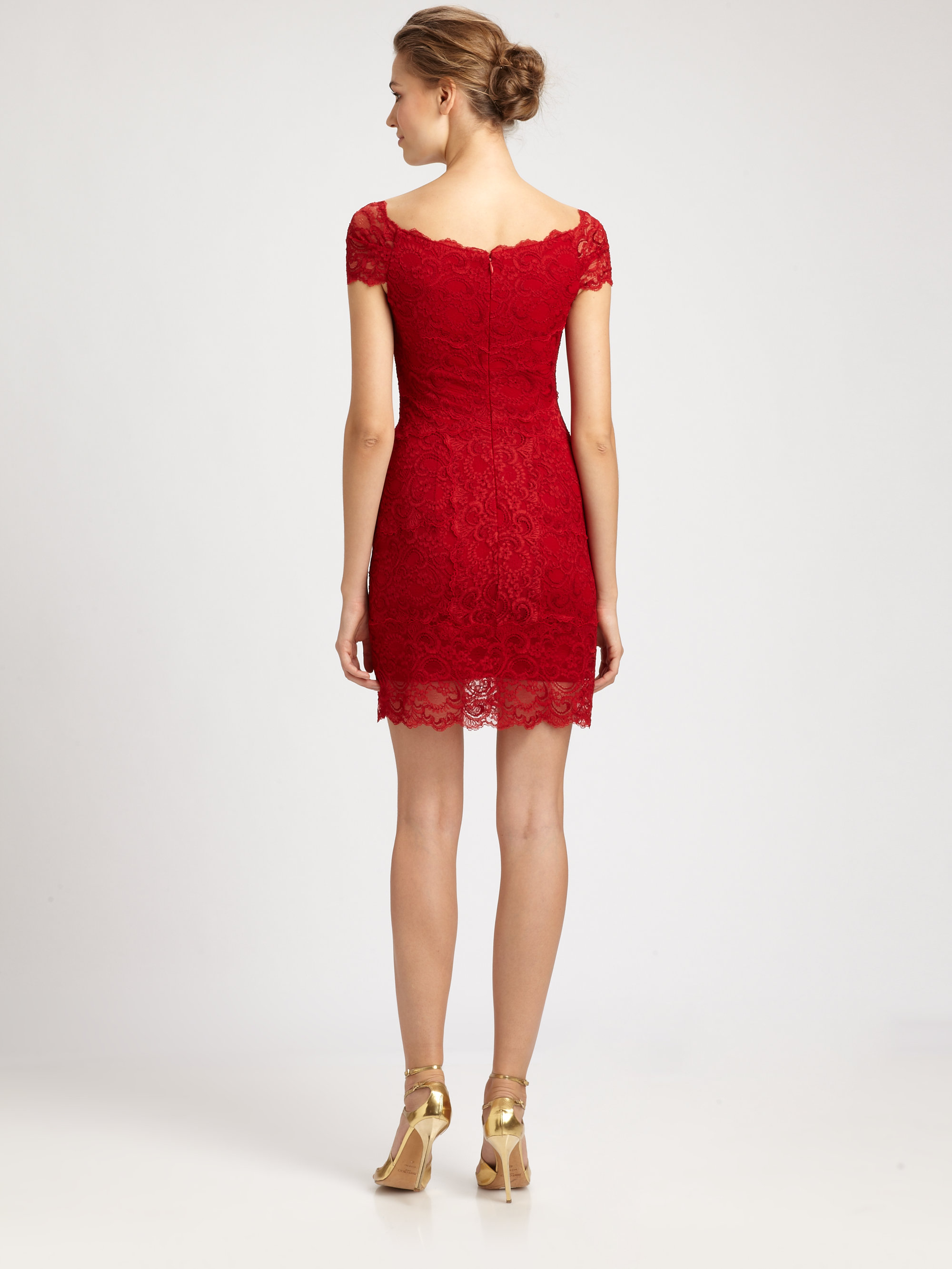 Nicole Miller Off Shoulder Lace Dress In Red Lyst