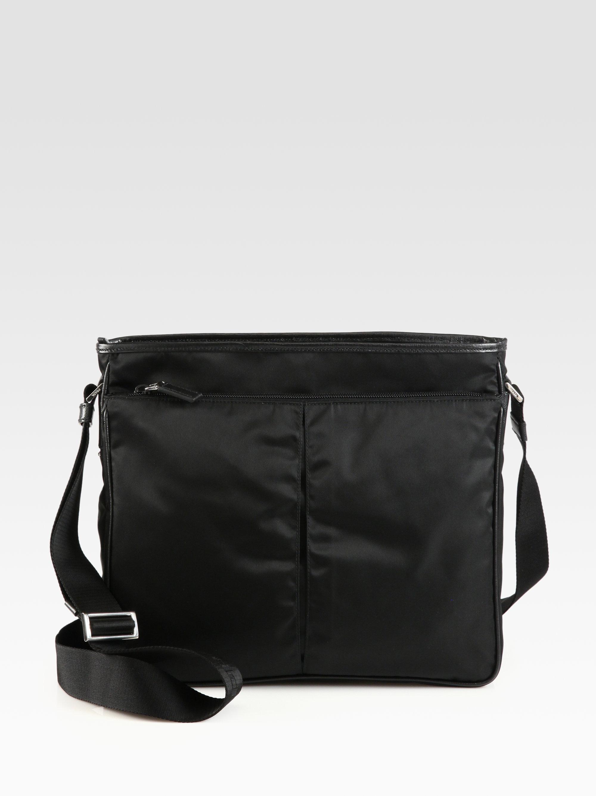 Prada Nylon Large Crossbody Bag In Black For Men Lyst