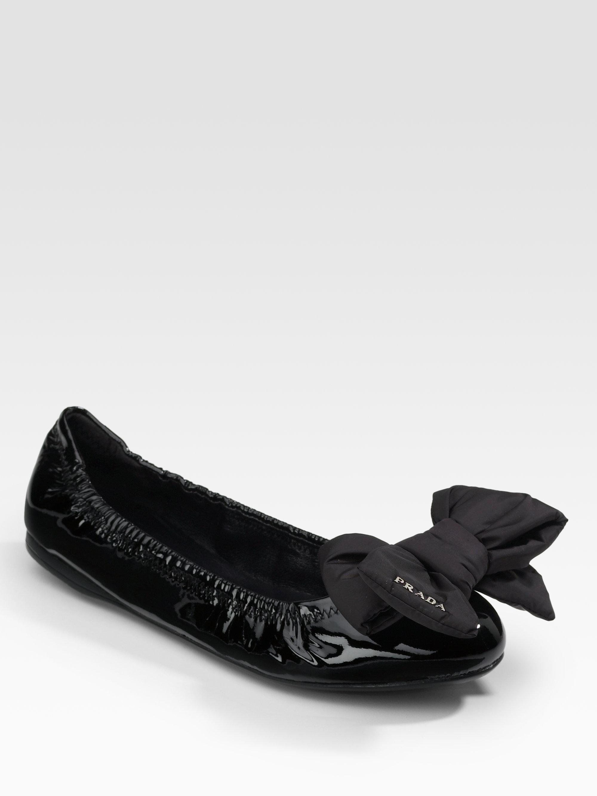 f242b4f0b93 Lyst - Prada Patent Leather Ballet Flats in Black