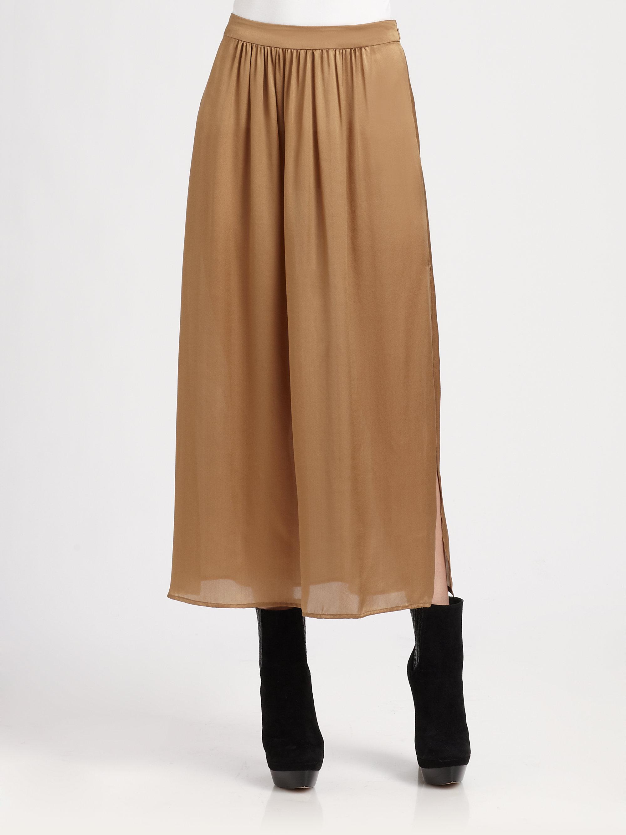 Rachel zoe Delphine Silk Midi Skirt in Brown | Lyst