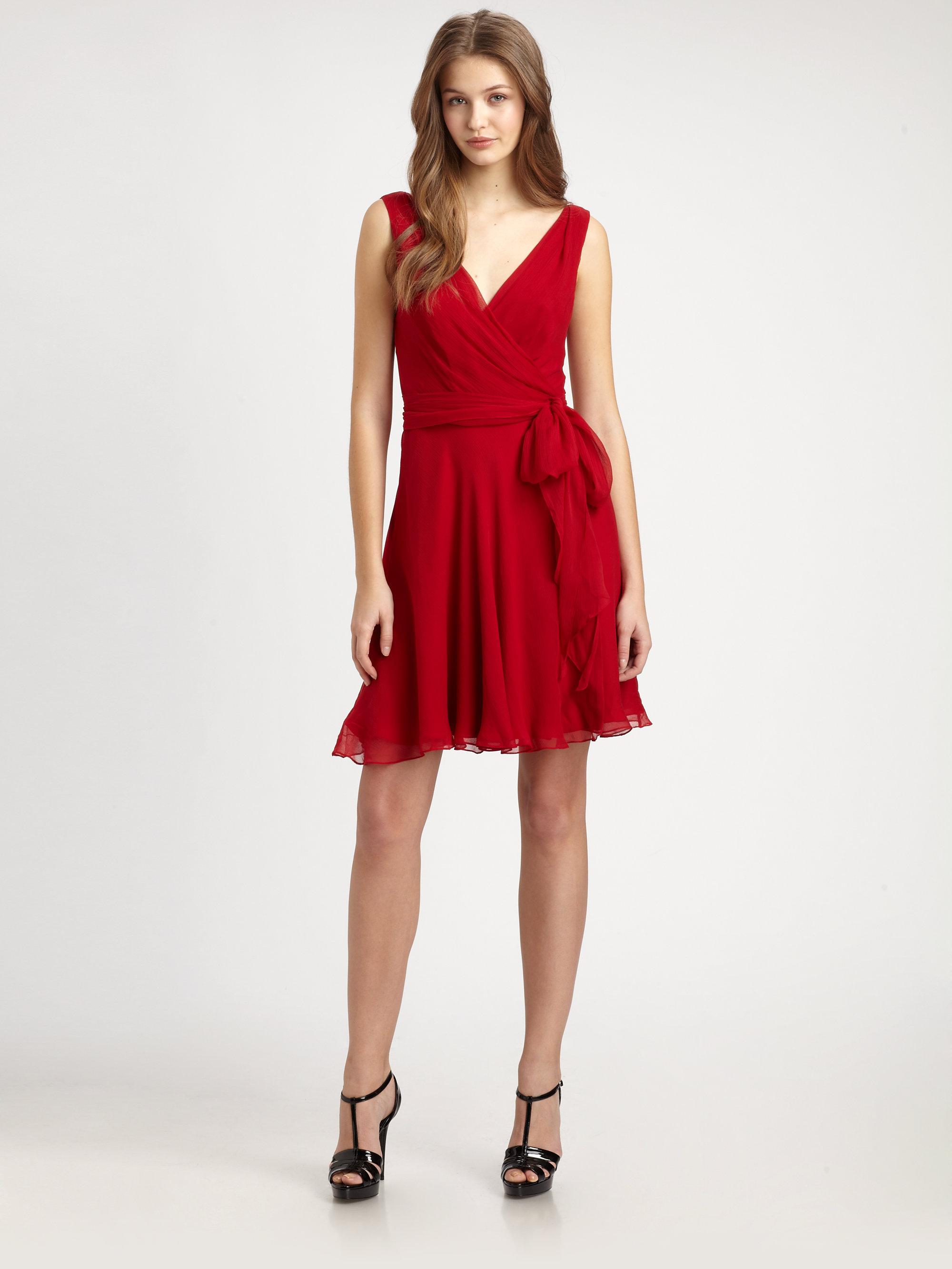 Ralph Lauren Blue Label Silk Dress In Red Lyst
