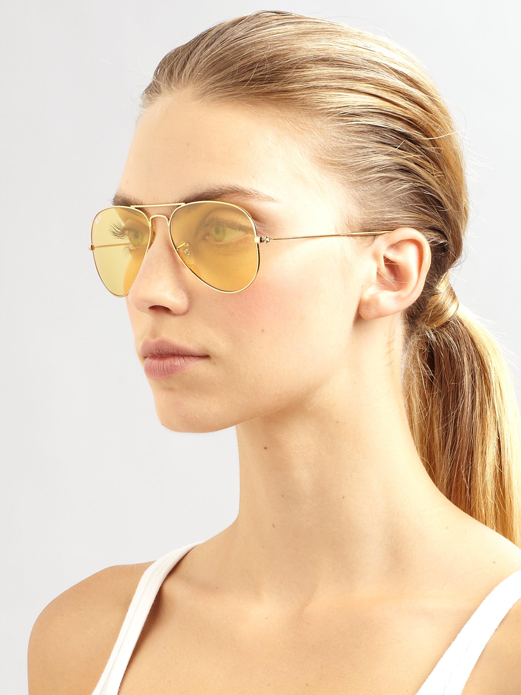 Ray Ban Ambermatic Shooter Metal Aviator Sunglasses In