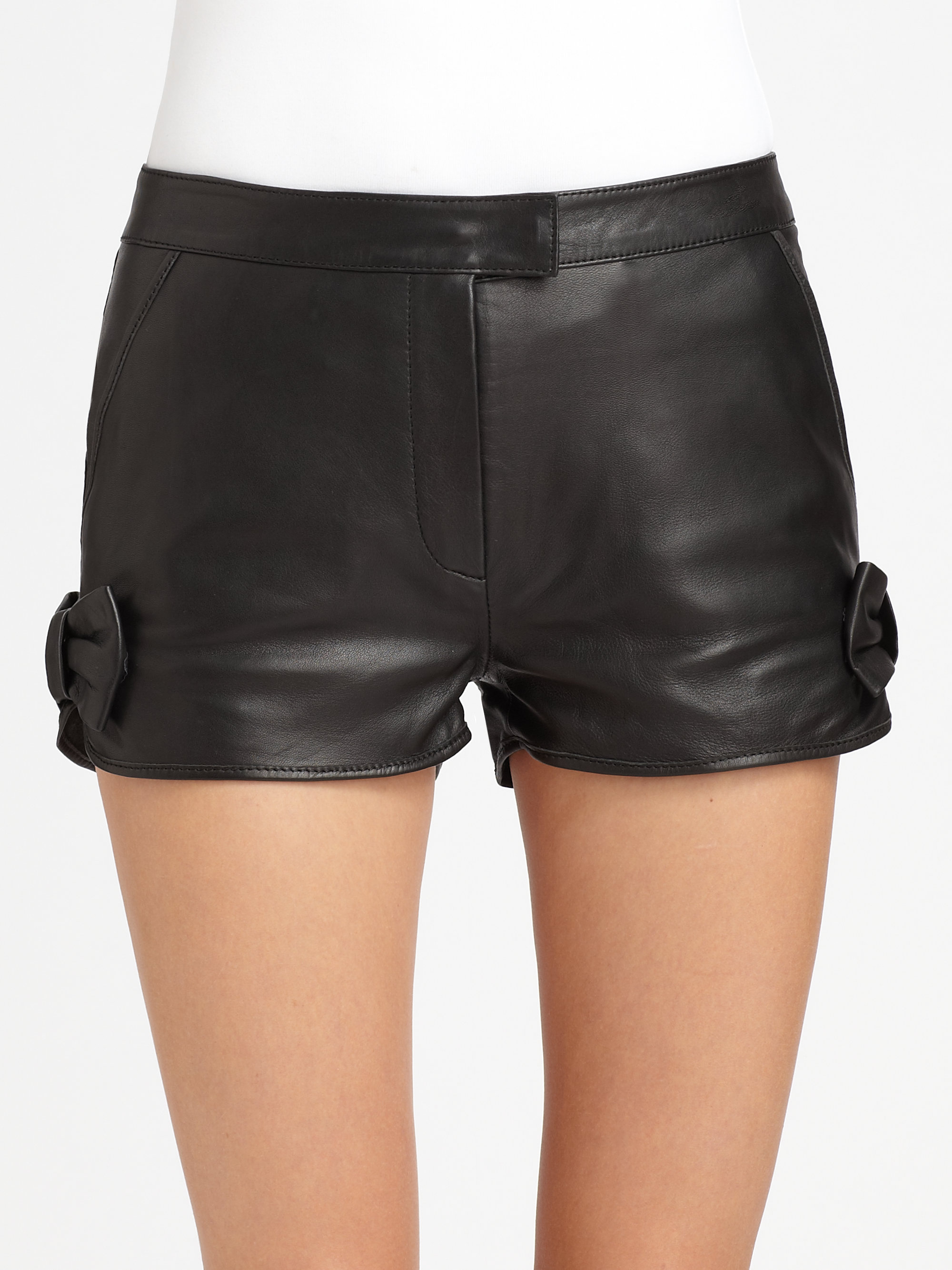 Lyst Red Valentino Leather Shorts In Black