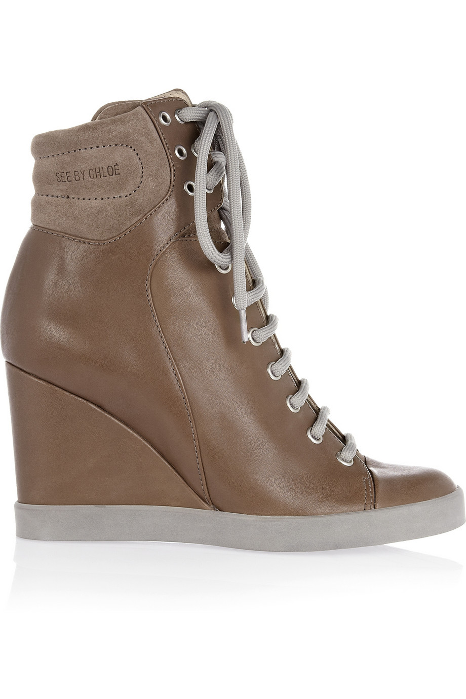 See By Chlo 233 Suede And Leather High Top Wedge Sneakers In
